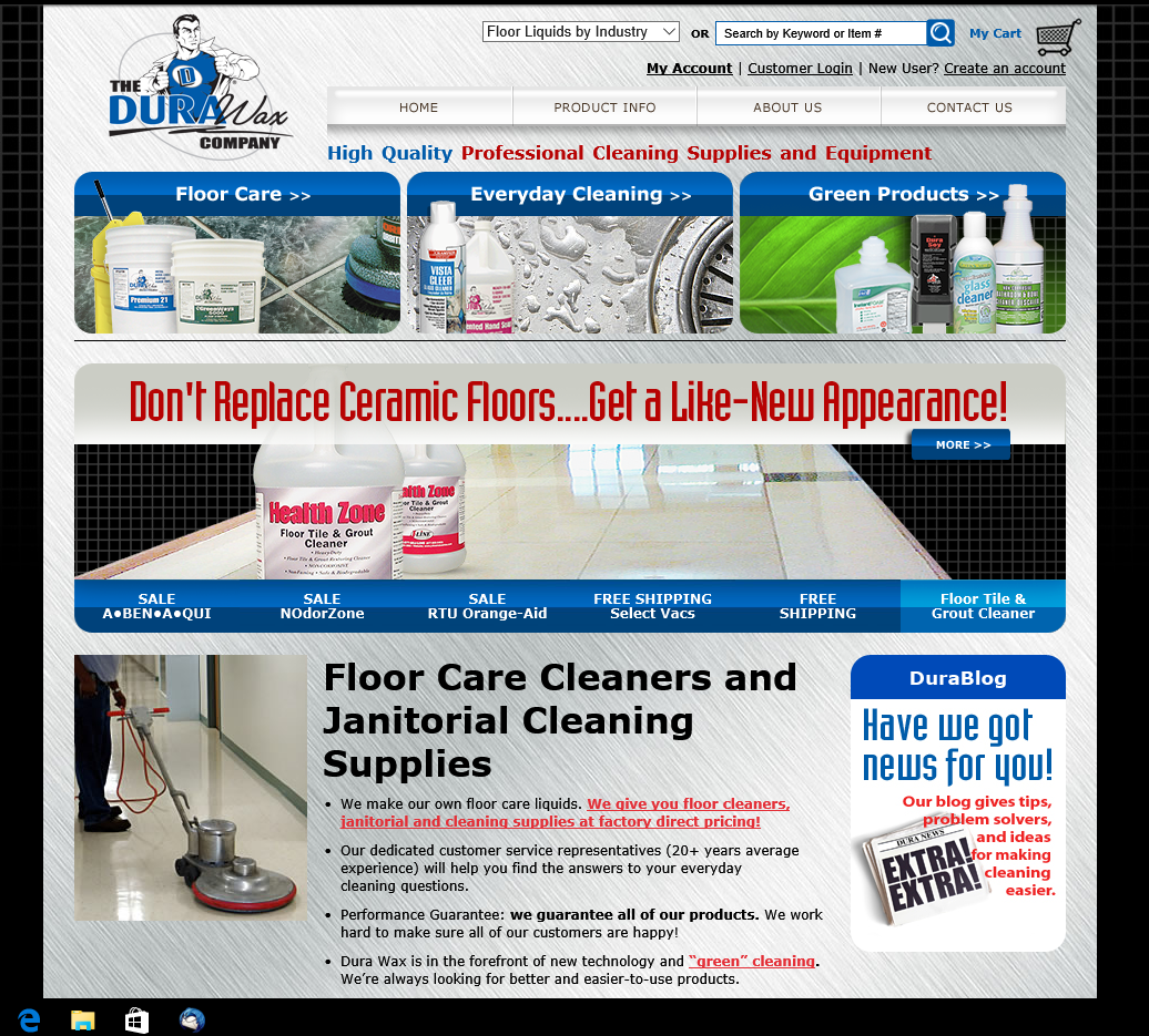 Dura Wax Website old home page